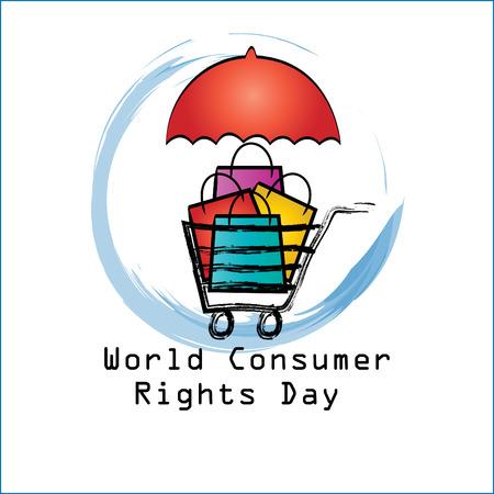 World consumer rights day concept Vettoriali