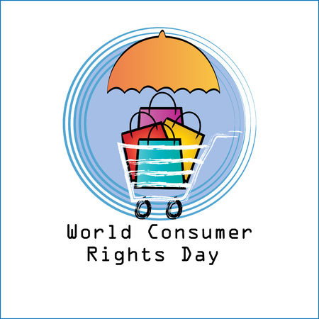 World consumer rights day concept Çizim