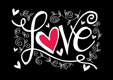 Love hand lettering cute font design floral pattern on black background vector illustration