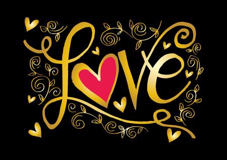 Love hand lettering cute golden font design floral pattern on black background vector illustration