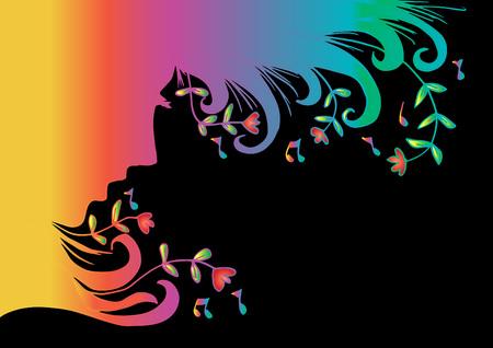 Music woman portrait silhouette Stock Illustratie