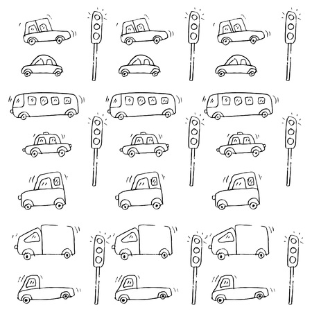 Cute Cars Pattern Vector illustration.