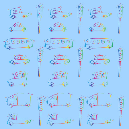 Cute Cars Pattern Vector illustration.