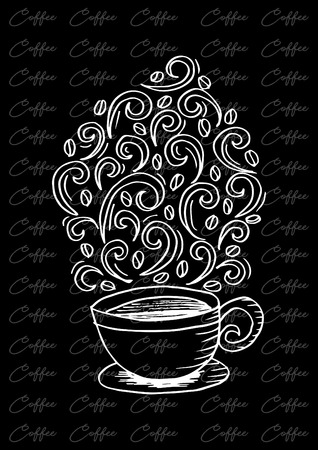 Coffee cup with abstract ornament isolated on plain background. Illustration