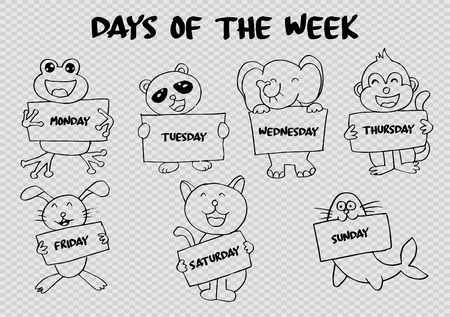 Days of the week with cute animals