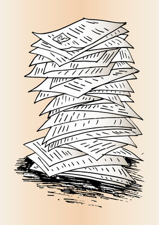 Sketch of Stack of work papers