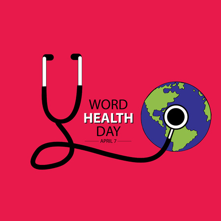 World health day banner concept illustration.