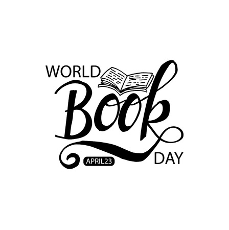 World Book Day lettering illustration on white background.