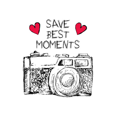 Save best moments lettering and old camera Vettoriali