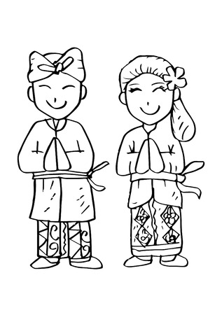 Cartoon costume, Bali Indonesian traditional clothes.