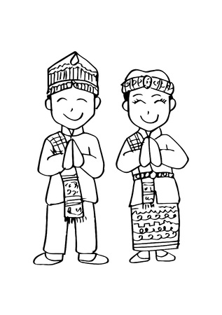 Cartoon costume. Batak, north sumatera Indonesian traditional clothes. Stock Illustratie