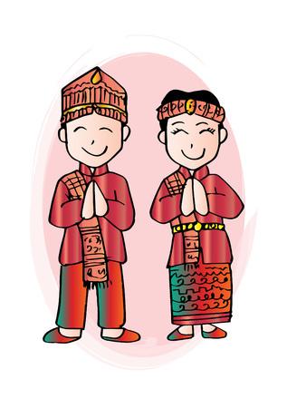 Cartoon costume. Batak, north sumatera Indonesian traditional clothes.  イラスト・ベクター素材
