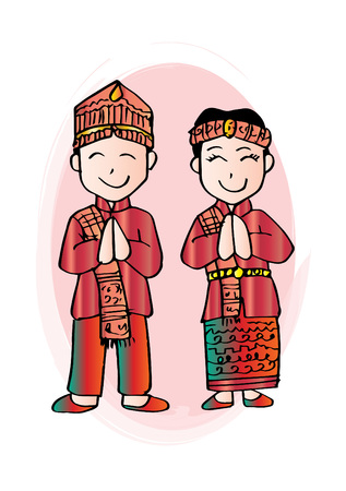 Cartoon costume. Batak, north sumatera Indonesian traditional clothes. Illustration