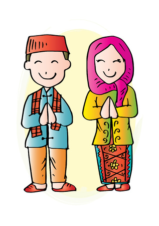 Cartoon costume. Betawi, Jakarta, Indonesian traditional clothes.