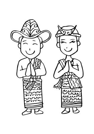 Cartoon costume. Nusa Tenggara Timur Indonesian traditional clothes. 일러스트