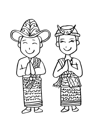 Cartoon costume. Nusa Tenggara Timur Indonesian traditional clothes. Stock Illustratie