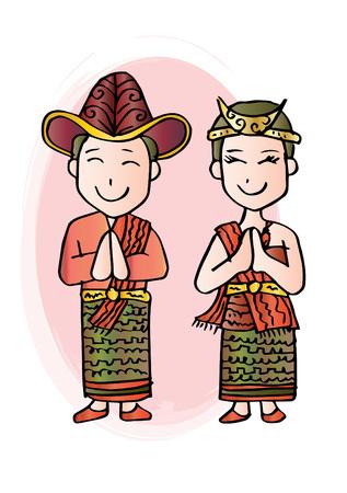 Cartoon costume. Nusa Tenggara Timur Indonesian traditional clothes.  イラスト・ベクター素材