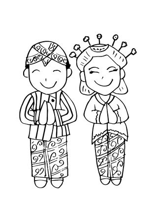 Cartoon costume. Java Indonesian traditional clothes.