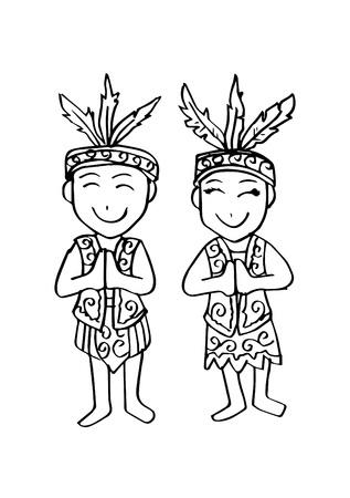 Cartoon costume of Dayak Kalimantan Borneo Indonesian traditional clothes.