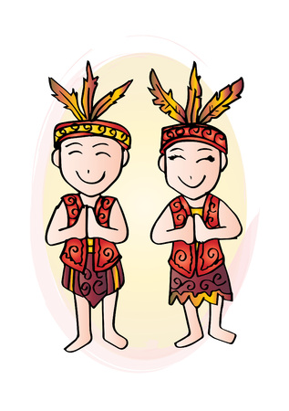 Cartoon costume of Dayak Kalimantan Borneo Indonesian traditional clothes.
