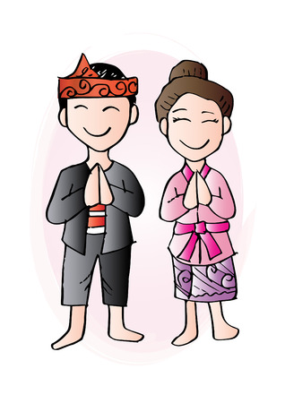 Cartoon costume of Madura, Indonesian traditional clothes.