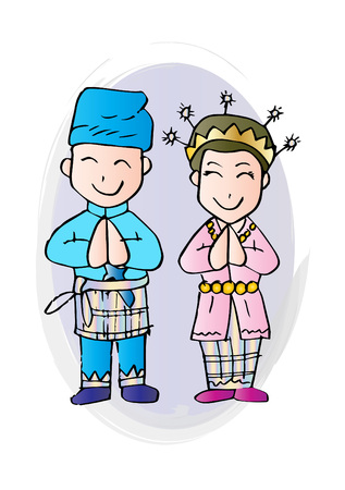 Cartoon costume, Riau, Indonesian traditional clothes.