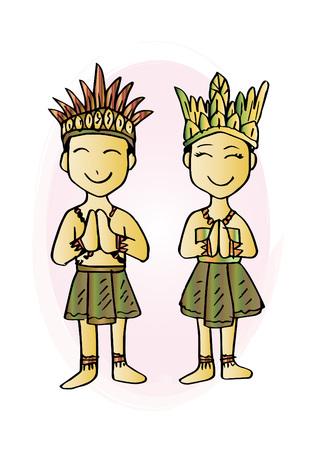 Costume de dessin animé, Papouasie, vêtements traditionnels indonésiens. Vecteurs