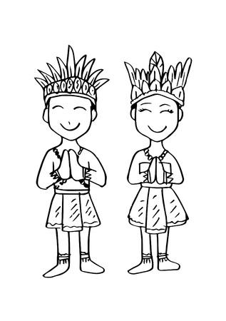 Costume de dessin animé, Papouasie, vêtements traditionnels indonésiens.