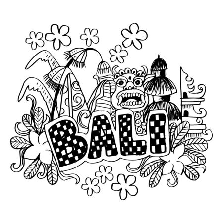 Bali sign on hand drawn doodle