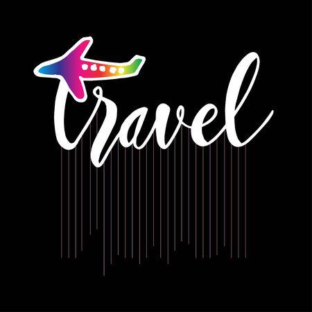 Travel card. Hand drawn lettering . Poster logo. 일러스트