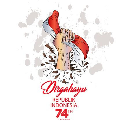 Indonesia Happy Independence Day greeting card. August 17