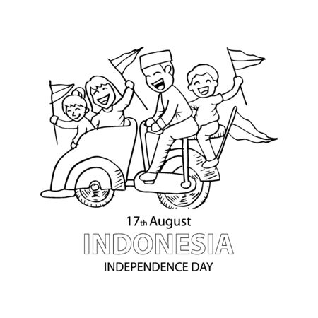 Indonesia independence day, 17th August. Coloring book..