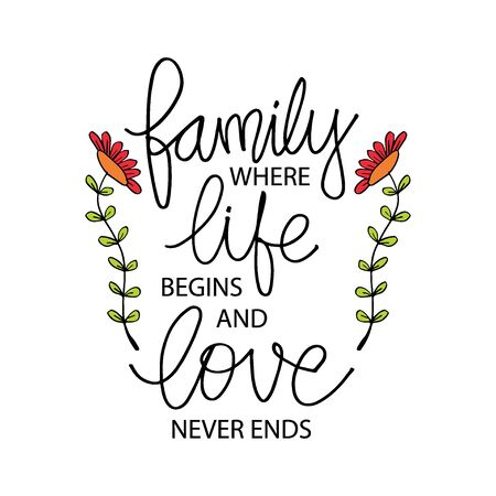 Family where life begins and love never ends. Inspirational quote