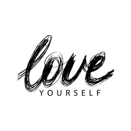 Love yourself slogan. Hand lettering.