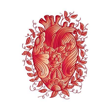 Hand drawing sketch human heart . Ilustração