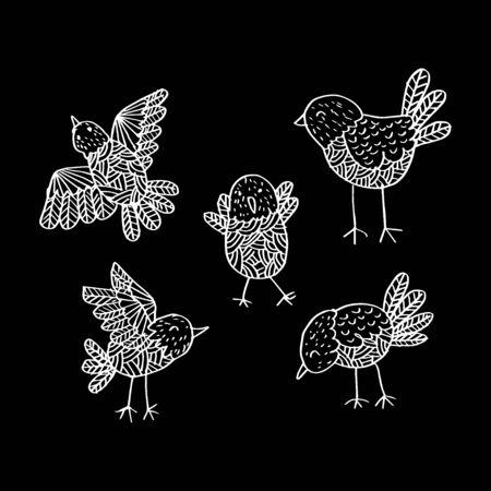 Cute birds. Hand drawing illustration. Ilustração