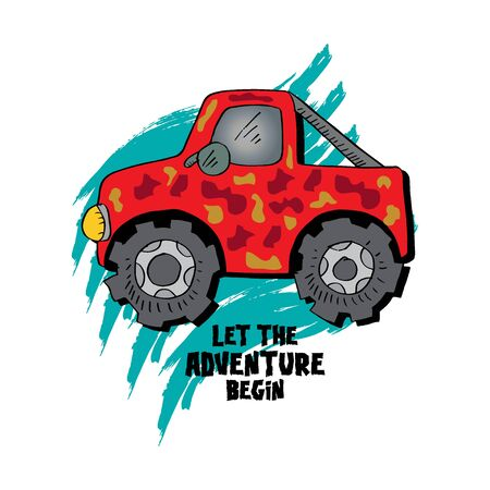 Let the adventure begin lettering with monster truck. Ilustração