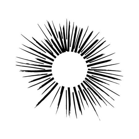 Doodle sunburst illustration. Sunburst element. Sun rays.