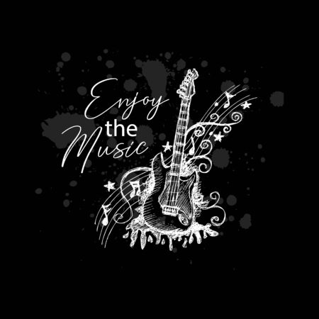 Enjoy the music, typography t-shirt design Zdjęcie Seryjne - 129792672
