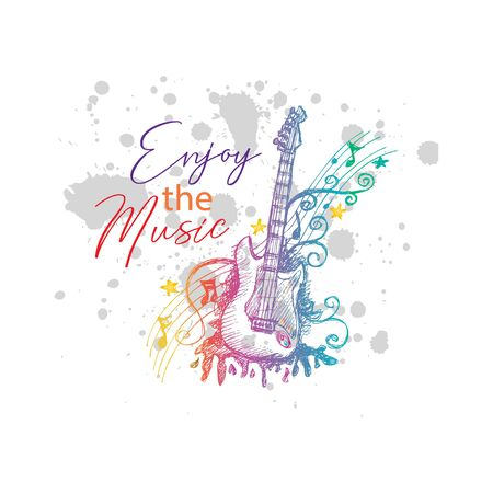 Enjoy the music, typography t-shirt design Zdjęcie Seryjne - 129792674