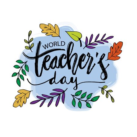 World teachers' day poster. October 5 矢量图像
