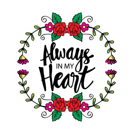 Always in my heart phrase hand lettering. Motivational quote. Stok Fotoğraf - 129792875