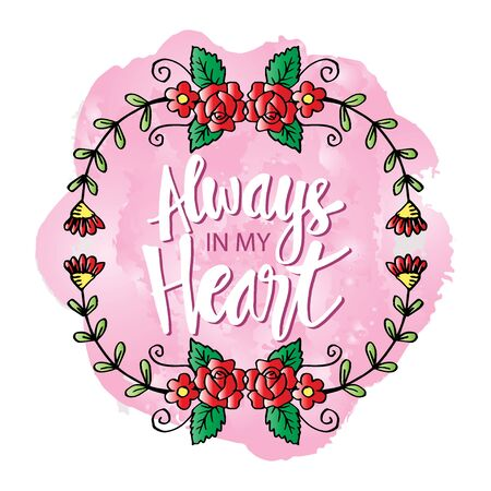 Always in my heart phrase hand lettering. Motivational quote. Stok Fotoğraf - 129792879