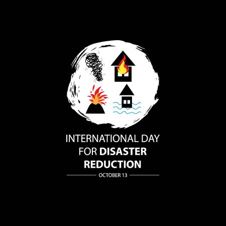 International Day for Disaster Reduction, October 13. 向量圖像