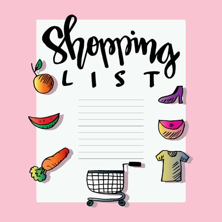 Shopping list on pink background.
