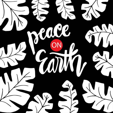 Peace on earth hand lettering calligraphy.