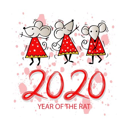 2020 Year of the Rat. Greeting card. 스톡 콘텐츠 - 134106877