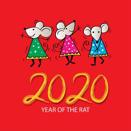 2020 Year of the Rat. Greeting card. 일러스트