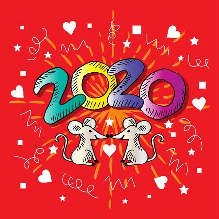 Happy Chinese New Year 2020 with  two rat.