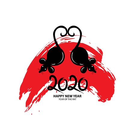 2020, the Year of the Rat. Greeting card.